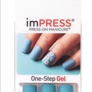 Impress Nails Matte Teal w/ Flowers Self-adhesive
